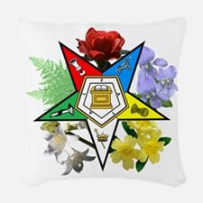 Eastern Star Floral Emblem Woven Throw Pillow