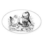 Pigeon Trio Oval Sticker