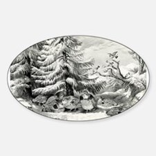Snowed up - ruffed grouse in winter - 1867 Decal