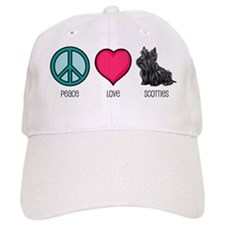 Peace Love & Scotties Baseball Cap