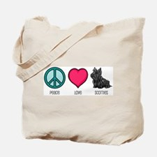Peace Love & Scotties Tote Bag