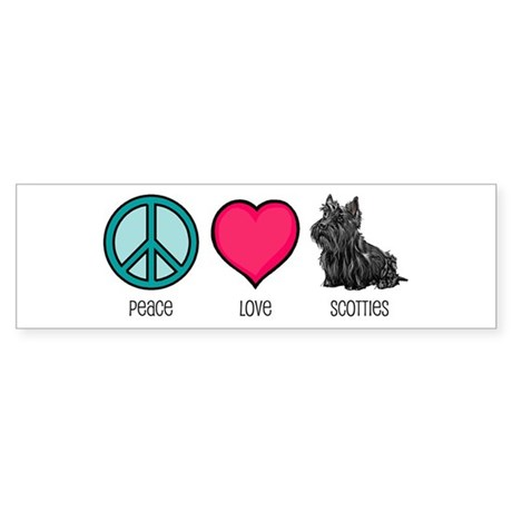 Peace Love & Scotties Bumper Sticker