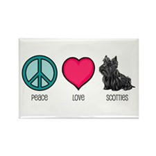 Peace Love & Scotties Rectangle Magnet