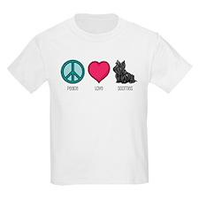Peace Love & Scotties Kids T-Shirt