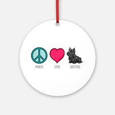 Peace Love & Scotties Ornament (Round)