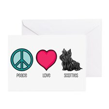 Peace Love & Scotties Greeting Cards (Pk of 10