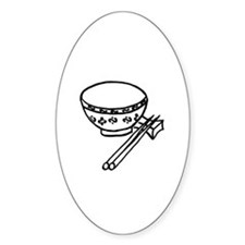 Chinese rice bowl Oval Decal