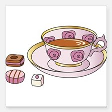 "Tea and Petit Fours Square Car Magnet 3"" x 3"""