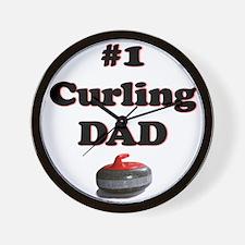 #1 Curling Dad Wall Clock