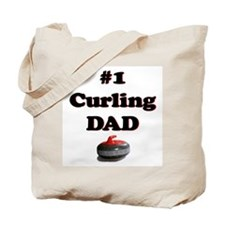 #1 Curling Dad Tote Bag