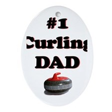 #1 Curling Dad Oval Ornament