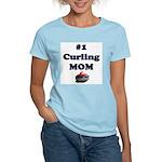 #1 Curling Mom Women's Pink T-Shirt