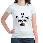#1 Curling Mom Jr. Ringer T-Shirt