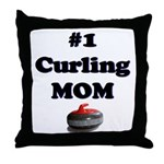 #1 Curling Mom Throw Pillow
