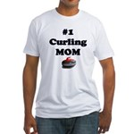 #1 Curling Mom Fitted T-Shirt