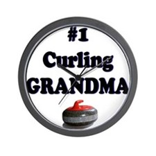 #1 Curling Grandma Wall Clock