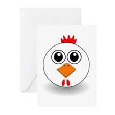 Cartoon Chicken Face Greeting Cards (Pk of 20)