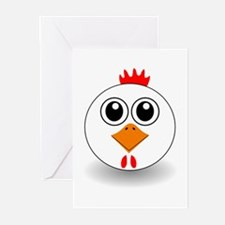 Cartoon Chicken Face Greeting Cards (Pk of 20)