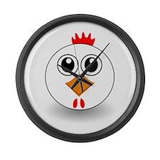 Cartoon Chicken Face Large Wall Clock