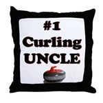 #1 Curling Uncle Throw Pillow