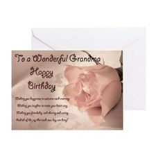 For grandma, elegant rose birthday card. Greeting