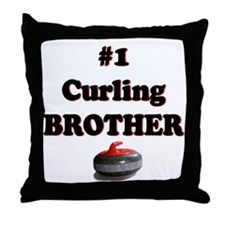 #1 Curling Brother Throw Pillow