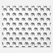 Damask Elephant Pattern King Duvet
