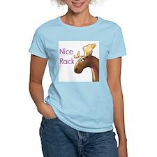 Nice Rack, Moose Women's Pink T-Shirt
