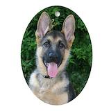 German shepherd puppy ornament Oval Ornaments
