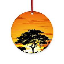 Wild Animals on African Savannah Sunset Ornament (