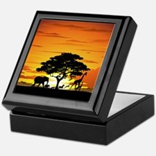 Wild Animals on African Savannah Sunset Keepsake B