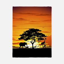Wild Animals on African Savannah Sunset Twin Duvet