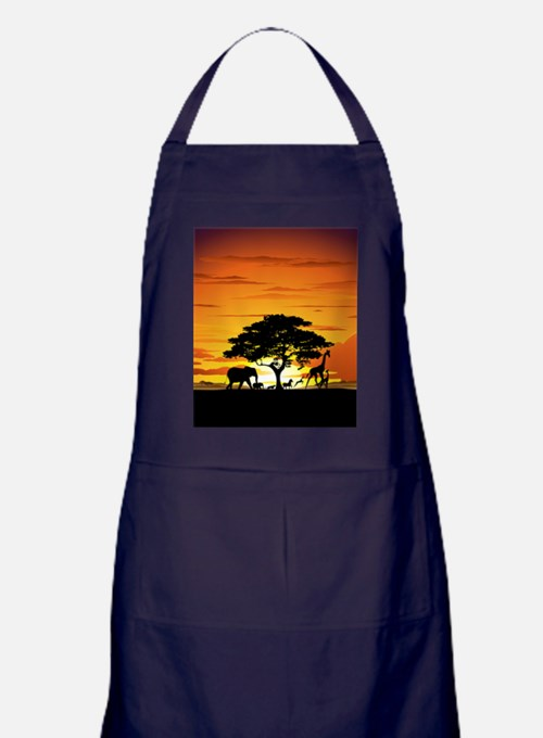 Wild Animals on African Savannah Sunset Apron (dar