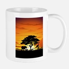 Wild Animals on African Savannah Sunset Mug