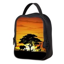 Wild Animals on African Savannah Sunset Neoprene L
