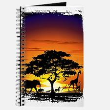 Wild Animals on African Savannah Sunset Journal