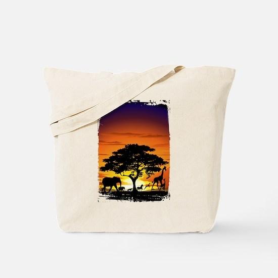 Wild Animals on African Savannah Sunset Tote Bag