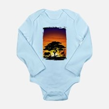 Wild Animals on African Savannah Sunset Body Suit