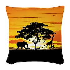 Wild Animals on African Savannah Sunset Woven Thro