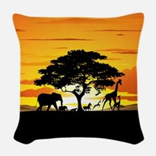 Wild Animals on African Savannah Sunset Woven Thro