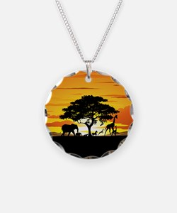 Wild Animals on African Savannah Sunset Necklace