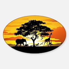 Wild Animals on African Savannah Sunset Decal