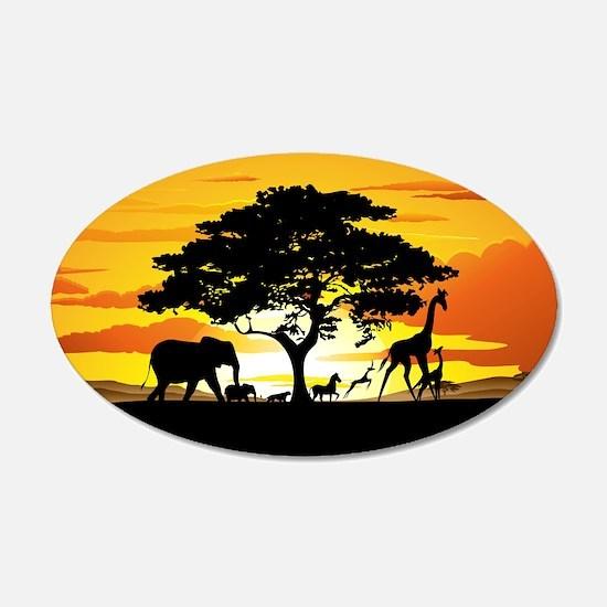 Wild Animals on African Savannah Sunset Wall Decal