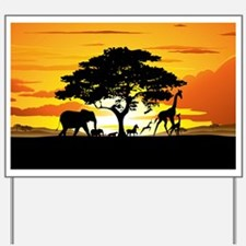 Wild Animals on African Savannah Sunset Yard Sign