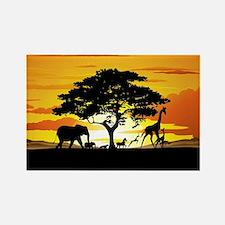 Wild Animals on African Savannah Sunset Rectangle