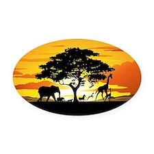 Wild Animals on African Savannah Sunset Oval Car M