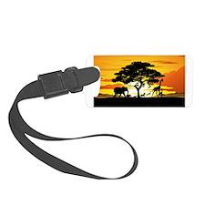 Wild Animals on African Savannah Sunset Luggage Ta