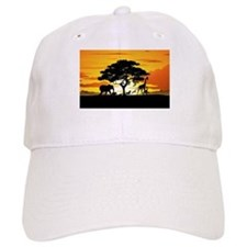 Wild Animals on African Savannah Sunset Baseball C