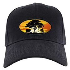 Wild Animals on African Savannah Sunset Baseball H
