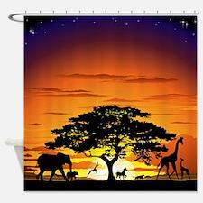 Wild Animals on African Savannah Sunset Shower Cur